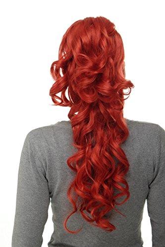 WIG ME UP - Postiche natte queue de cheval boucles volumineuses très longues 60 cm mini-pince-papillon + peigne + élastique mélange de rouge WK08-137
