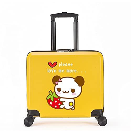 FGHHJ Equipaje para niños de 18 Pulgadas, Muchacha, niña, pequeña Maleta, Equipaje de Viaje con 4 Ruedas, cartón, Carcasa Dura, Peso Ligero,Yellow Panda