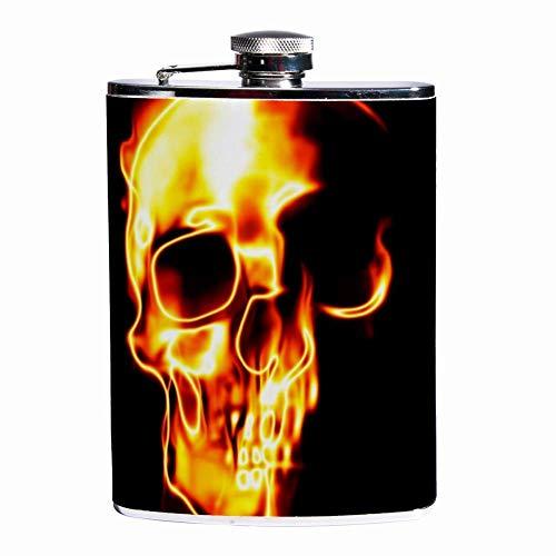 Auslaufsicherer Spirituosen-Flachmann 7,6 Unzen Flagon Mug Lederbezug mit brennendem Schädel-Taschenbehälter für diskreten Schnaps