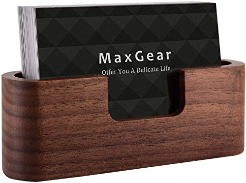 MaxGear Business Card Holder Wood Business Card Holder for Desk