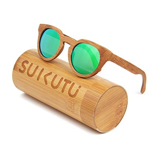 SUKUTU Uomo Donna Occhiali da sole in bambù fatti a mano Occhiali Occhiali da sole polarizzati per esterni in legno retro moda con scatola di bambù SU039