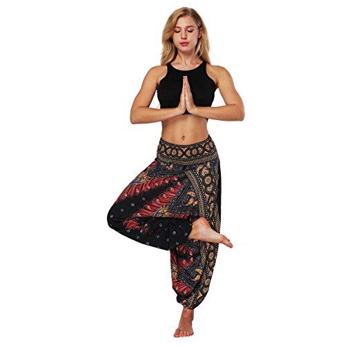 LATH.PIN Pantaloni Harem Donna Boho Pantalone alla Turca Larghi Etnici Stampa Taglie Forti per Pilates Yoga Danza Spiaggia (Stile 1)