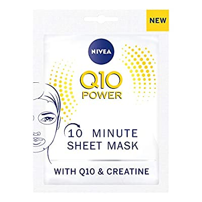 NIVEA Q10 Power Anti-Wrinkle + Firming Sheet Mask Pack of 5 (5 Pieces), Anti Ageing Moisturiser Mask, Face Mask Sheet with Coenzyme Q10, 10 Minute Anti Wrinkle Cream Mask from Beiersdorf