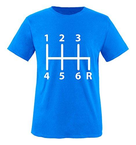 Comedy Shirts - Gangschaltung 6 Gang - Jungen T-Shirt - Royalblau/Weiss Gr. 98-104