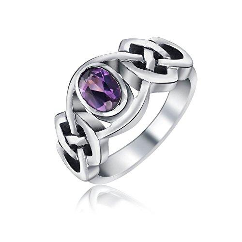 『[ブリングジュエリー] アメジスト シルバー925製 幅1ミリ 紫 ケルトノット トリケトラ 2月誕生石 指輪 サイズ14号』の1枚目の画像