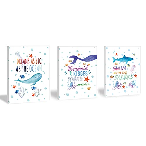 Sea Life Art Print,Inspirational Wall Art Set of 3 Pieces (11.8x15.6inch) Watercolor Starfish Mermaid Seahorse Canvas Pictures With Framed Ready to Hang for Kids Room Nursery Decor