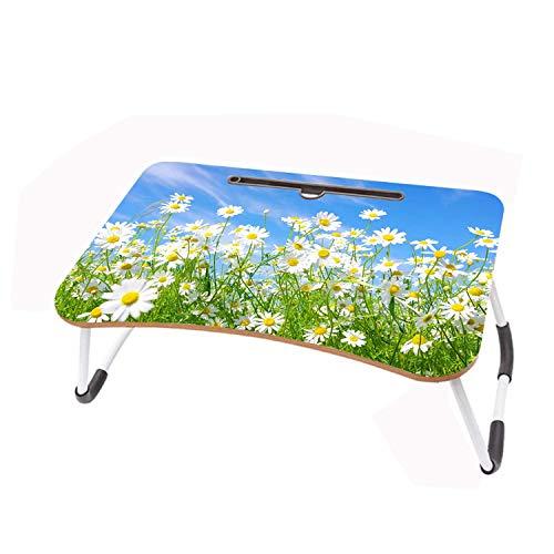 LYWUSUZE Laptop-Betttisch Tragbar Weißes Gänseblümchen Auf Dem Bett Sofa Lese Tisch Tragbarer (60 x 40cm)