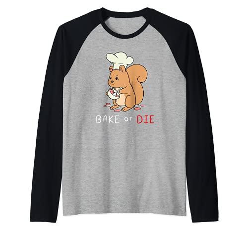 Pastel de repostería de ardilla azucarada Pastelería de Camiseta Manga Raglan