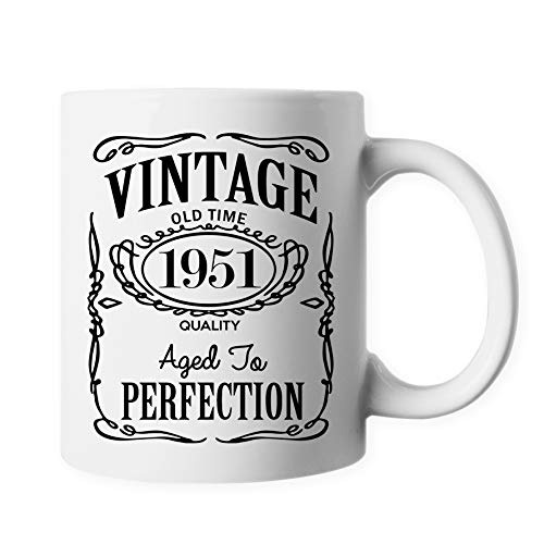 70th Birthday Party Gear 1951 Vintage Anniversary Ceramic Coffee Mug 11 oz PB280