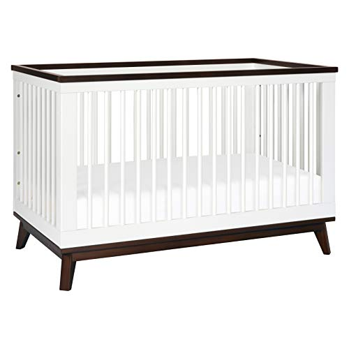 babyletto Scoot 3-in-1 Convertible Crib with Toddler Bed Conversion Kit in White / Walnut,...