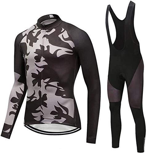 Mens Classic Long Sleeve Cycling Jersey,Winter Thermal Bike Top + Cycling Bib Tights Set,C-L