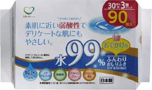 ライフ堂 あかちゃんの おしりふき お出かけ用 ホワイト 約横15cm×縦20cm(1枚あたり) ノンアルコール 無香料 水99% 日本製 LD-037 30枚入3個セット