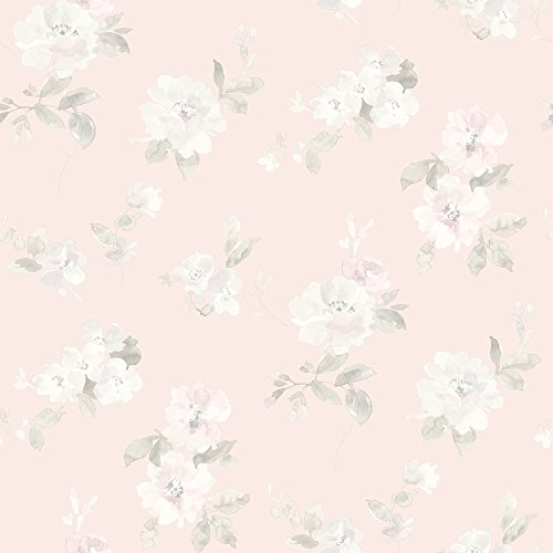 Chesapeake HAS54598 Captiva Light Pink Floral Toss Wallpaper