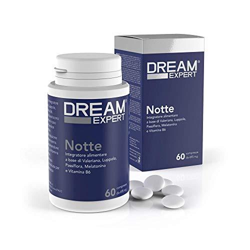 Dulàc, Noche, 60 cpr, Pastillas para dormir naturales basadas en Melatonina (1 mg), Valeriana (256 mg), Lúpulo (128 mg), Pasionaria (85 mg) y Vitamina B6 (1,4 mg), Dream Expert