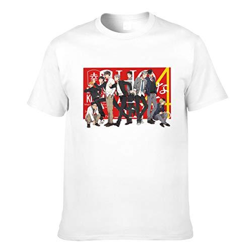 Haikyuu !!Camiseta Karasuno de algodón de Manga Corta Ajustada para Hombre, Negra, pequeña, Blanca