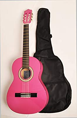 """Beginner Left Handed Classical Acoustic Guitar 3/4 Size (36"""") Pink OMEGA CLASS 3/4 MPN LH"""