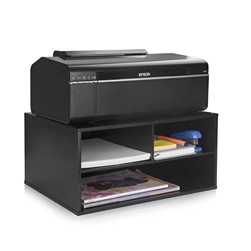 eMerit Printer Stand Shelf with Storage Wood Desk Paper Organzier for Home/Office,Printer Riser, 2 Tire (Black)
