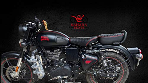 Sahara Seats Royal Enfield Classic 350/500 Leather Finish Seat Cover and Tank Cover (Black and Red)