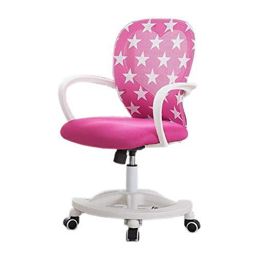 Kinderen leerstoel, kan tillen kind Student stoel, bureaustoel, 360 ° draaibare houding rugleuning Kruk 3-18 Jaar oud roze