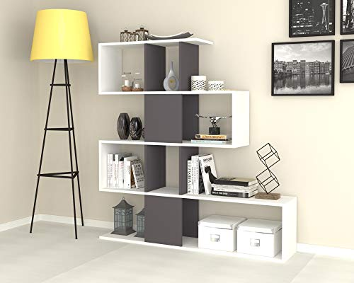 Effezeta Libreria bifacciale Scaffale 4 Livelli 9 Scomparti Colore Bianco e Ghisa 145x29x145h cm