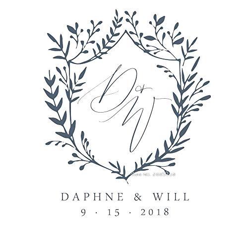 yuandp Wedding party logo gastenboek decal huwelijksreis dagboek decoratie sticker vinyl letter bloem letters belettering sticker aangepaste naam datum L 42x52cm