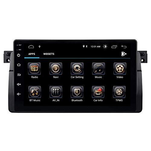 Autoradio de Coche de 9 Pulgadas Android 9.0 para BMW E46 con Procesador Quad-Core, GPS RAM2GB ROM32GB Pantalla Táctil WiFi Bluetooth FM Am DSP RDS USB SD CANBUS Control del Volante