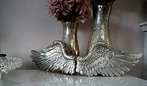 garden mile Large Vintage Shabby Chic Silver Angel Wings Wall Sculptures Ornament. Unique Christmas Decoration Wall Sculpture Fairy Door. Available In Gold, Silver Or Vintage White (Silver, Large)