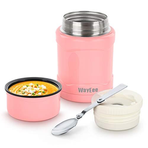 WayEee Thermobehälter 450ml Speisegefäß Edelstahl Isolierbehälter mit Löffel Speisebehälter Thermo Lunchbox für warme Speißen Essen Babynahrung Suppe EIS (Rosa)