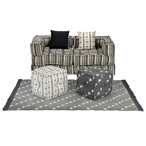 FAMIROSA Conjunto de sofá Modular 9 Piezas Tela de Rayas