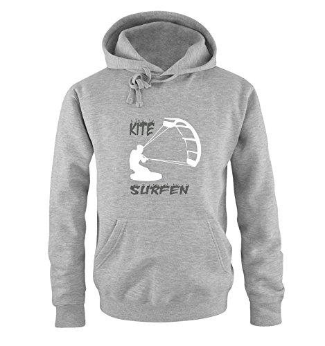 Comedy Shirts - Kite Surfen - Motiv 3 - Herren Hoodie - Grau/Weiss-Grau Gr. XXL