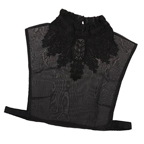 MagiDeal Frauen Kragen Abnehmbare Hälfte Shirt Bluse Weiß/Schwarz/Denim/Chiffon - Schwarz Blumen, Halbes Hemd