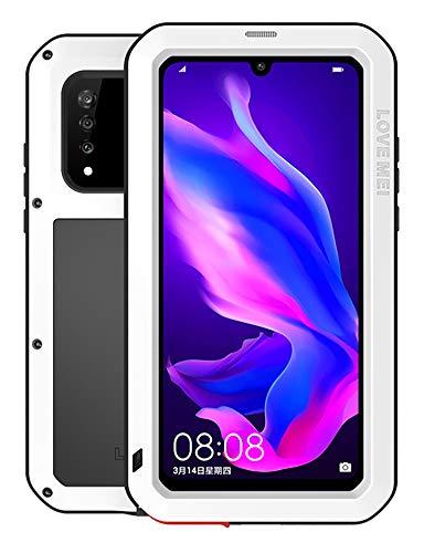 FONREST Completo Funda para Huawei P30 Lite, Love Mei 6,15-Pulgada Antichoque Al Aire Libre Híbrido Aluminio Metal Antipolvo Carcasas con Vidrio Templado, Soporte de Carga inalámbrica (Blanco)