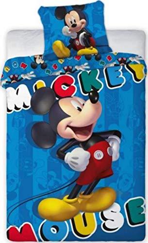 Enjoykids - Juego de funda nórdica de 140 x 200 cm y funda de almohada de Mickey