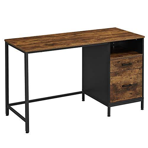 VASAGLE Computertisch mit Aktenschrank, Schreibtisch mit Schubladen, für Büro, Homeoffice, Industriestil, vintagebraun-schwarz LWD052B01YC