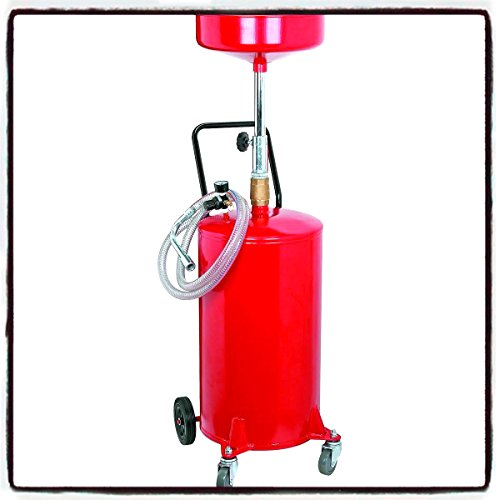 House Deals Portable Oil Waste Tank Heavy Duty Air Operated with Wheels Hose Metal 20 Gallon Capacity