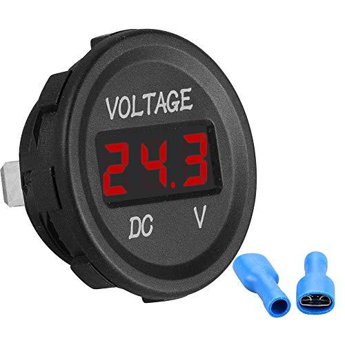DC 24v / 12v Voltímetro Medidor de voltaje con pantalla LED Utilizado para monitorear el voltaje de la batería de almacenamiento Mini voltímetro a prueba de agua para carro de motocicleta cami