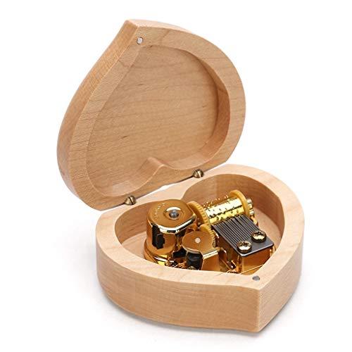 LILY-music box Boîte à Musique Manuelle Boîte à Musique en Bois en Forme de Coeur Simple, boîte à Musique Classique décoration Cadeau d'anniversaire Saint Valentin Bon Son (Color : Happy Birthday)