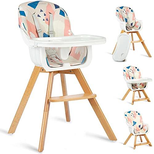 Silla de alimentación para bebés y niños pequeños, cómoda silla con bandeja extraíble y ajustable, cinturón de 5 puntos