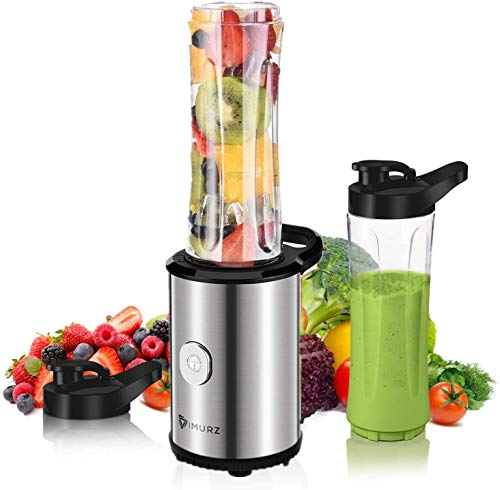 Personal Blender,Smoothie Blender, Mixer Smoothie Maker for Juice Shakes and Smoothie, Milkshake, Fruit Vegetables Drinks, Ice with 2 x 600ml Tritan BPA-Free Portable Bottle,23,000 RPM,350W