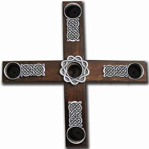 Cathedral Art (Abbey & CA Gift Celtic Knot Wood Cross Advent Wreath Candle Holder, Brown