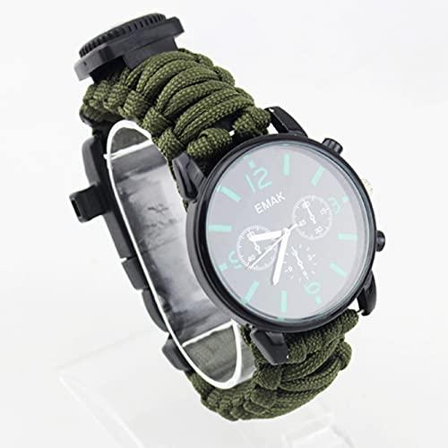 ZDDXY Reloj De Supervivencia Al Aire Libre, Equipo De Pesca para Hombres Herramienta Multifuncional para Acampar Brújula Luminosa A Prueba De Agua Cuerda De Rescate Relojes De,Verde