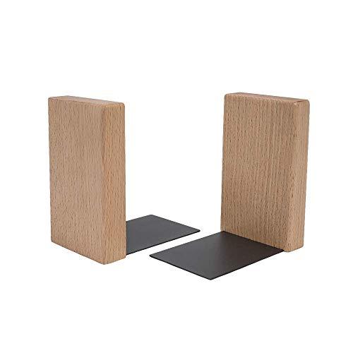 Bücherhalter für Regal minimalistisches Design | Moderner Buch Winkel aus Holz und Blech | Buch Halterung aus natürlichem Holz HYKKE | 100% ECO | Made in EU (Natürlich)