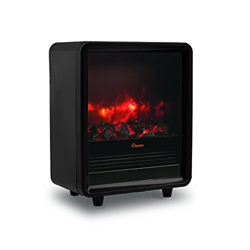 Crane Fireplace Heater, 750W/1500W, Realistic Embers, 3 Settings, Ceramic Space Heater, Overheat Protection, Black