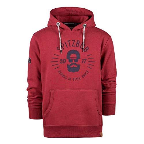 Spitzbub Herren Kapuzenpullover Hoodie Sweatshirt Pullover mit Kapuze, Rot, XL