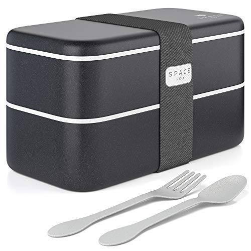 SpaceFox Bento Box mit 2 Fächern - Lunchbox Set aus Weizenstroh - umweltfreundlich & nachhaltig - Brotdose mit Besteck - spülmaschinenfest - schwarz