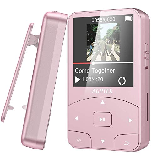 Clip MP3 Player with Bluetooth, AGPTEK 8GB Lightweight Sport Music Player with Armband, Pedometer, FM Radio,Voice Recorder Support Up to 128GB, A58 Rose Gold for Running, Workout