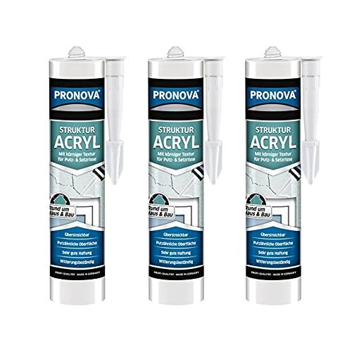 Strukturacryl körnige Dichtmasse, Putzacryl Riss- und Füllspachtel für Innen- und Außenbereich, Premium Fugenmasse für Ausbesserungen rauer Oberflächen, 300 ml weiß (Struktur Acryl, 3x 300 ml)
