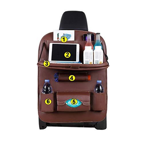 Coche multifuncional placa de comedor y silla bolsa trasera, organizador de asiento trasero de coche de PU para almacenamiento de juguetes de bebés con bolsillo con titular de mesa plegable,Marrón