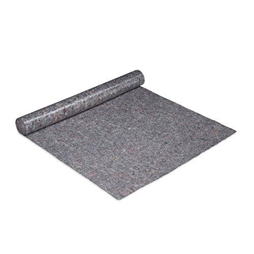 Relaxdays Malervlies, Abdeckvlies Rolle, 1 m x 10 m = 10m², rutschfest, wasserabweisend, 180g/m², Streichen, Umzug, grau