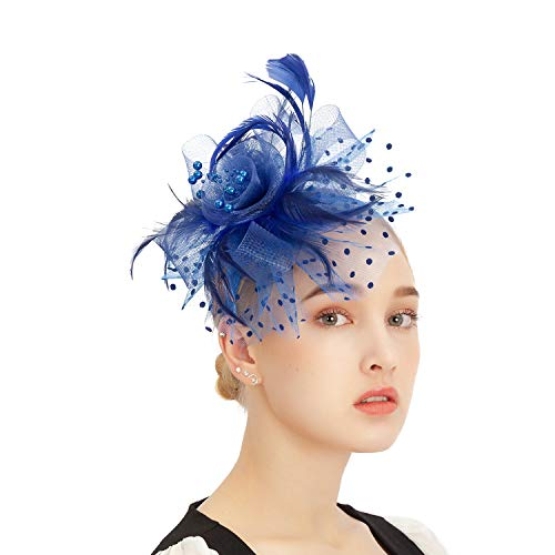 Kentucky Derby Fascinator Hats Veiling Flower Cocktail Tea Party Headpiece Hair Clip Feather Ribbon Headwear for Women and Girls(Royal Blue)